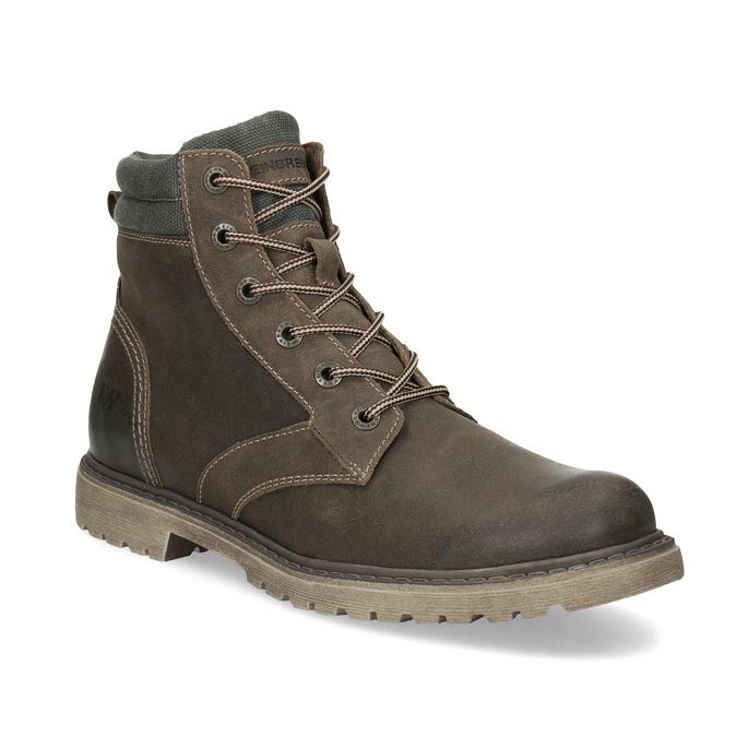 Hnědá kožená pánská zimní obuv weinbrenner, hnědá, 896-4693 - 13