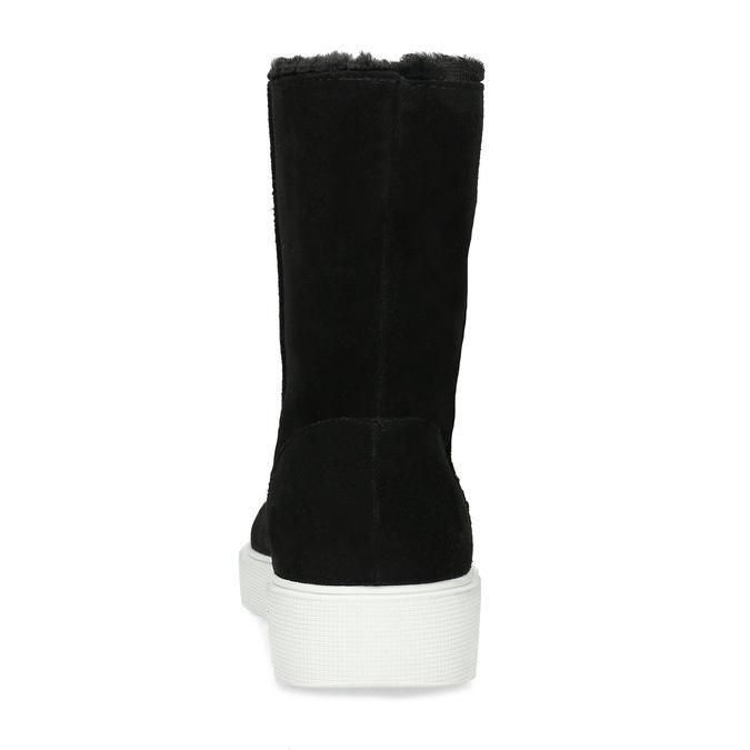 Zimní kožená obuv černá s bílou podešví bata, černá, 593-6613 - 15