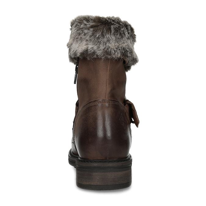 Dámská zimní kožená obuv s kožíškem bata, hnědá, 596-4701 - 15