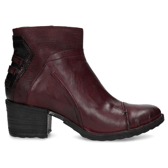 Kožená kotníčková obuv vínová bata, červená, 696-5666 - 19