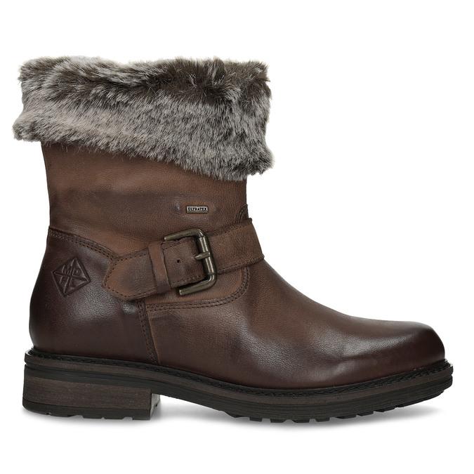 Dámská zimní kožená obuv s kožíškem bata, hnědá, 596-4701 - 19
