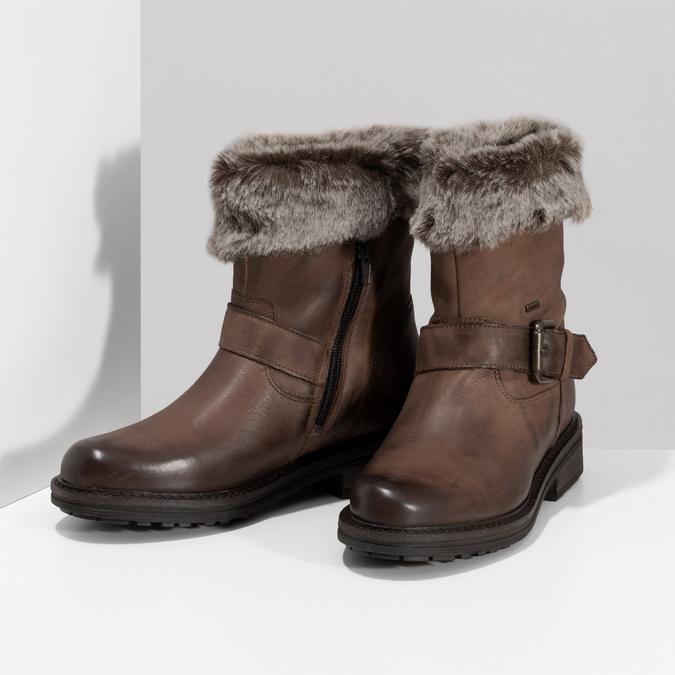 Dámská zimní kožená obuv s kožíškem bata, hnědá, 596-4701 - 16