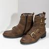 Hnědá kožená kotníková obuv s přezkami bata, hnědá, 596-4735 - 16