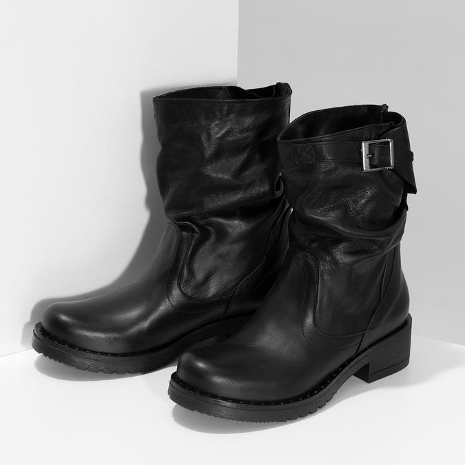 Kožené dámské kozačky s přezkou bata, černá, 594-6719 - 16