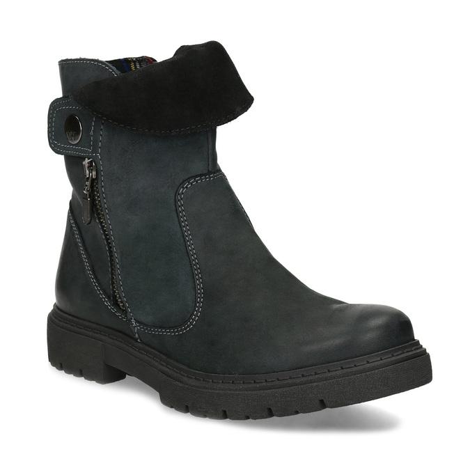 Dámská kožená zimní obuv s prošitím weinbrenner, černá, 596-6751 - 13