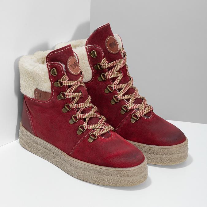 Kožená vínová dámská kotníčková obuv weinbrenner, červená, 596-5756 - 26