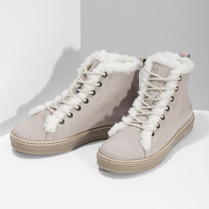 Kožená kotníčková zimní obuv s kožíškem weinbrenner, béžová, 596-8730 - 16