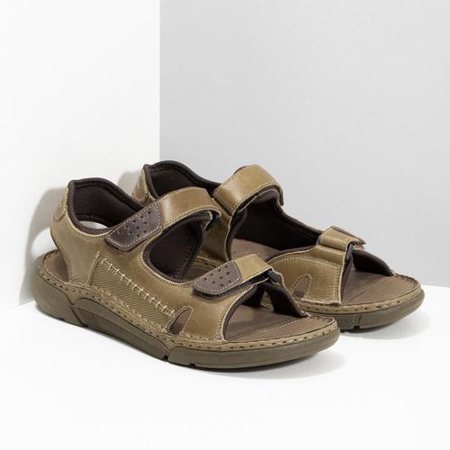 Kožené pánské sandály černo-modré weinbrenner, hnědá, 866-4643 - 26