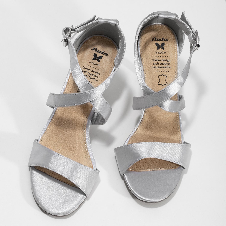 Insolia Stříbrné sandály na jehlovém podpatku - Sandály  2a53d3eb9d
