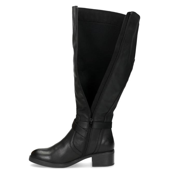 Černé dámské kozačky s přezkou bata, černá, 691-6644 - 17