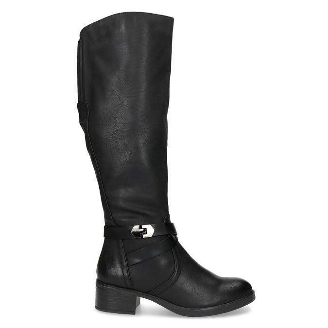 Černé dámské kozačky s přezkou bata, černá, 691-6644 - 19