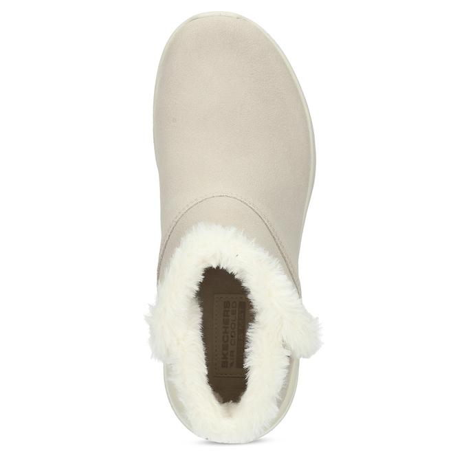 Kožená zimní obuv s kožíškem béžová skechers, béžová, 503-8124 - 17