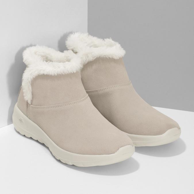 Kožená zimní obuv s kožíškem béžová skechers, béžová, 503-8124 - 26