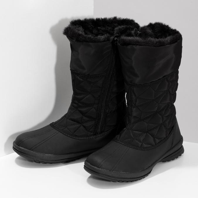 Dámská černá zimní obuv s prošíváním bata, černá, 599-6624 - 16