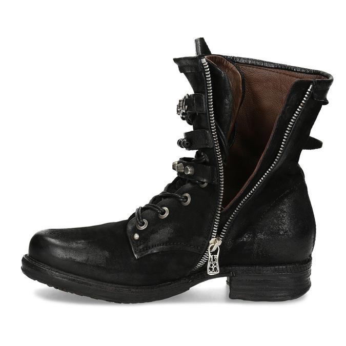 Kožená kotníčková obuv s přezkami černá a-s-98, černá, 626-6086 - 17
