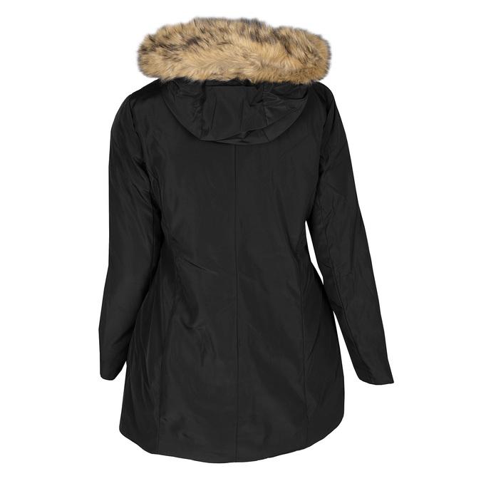 Dlouhá dámská bunda s kapucí a kožíškem bata, černá, 979-6355 - 26