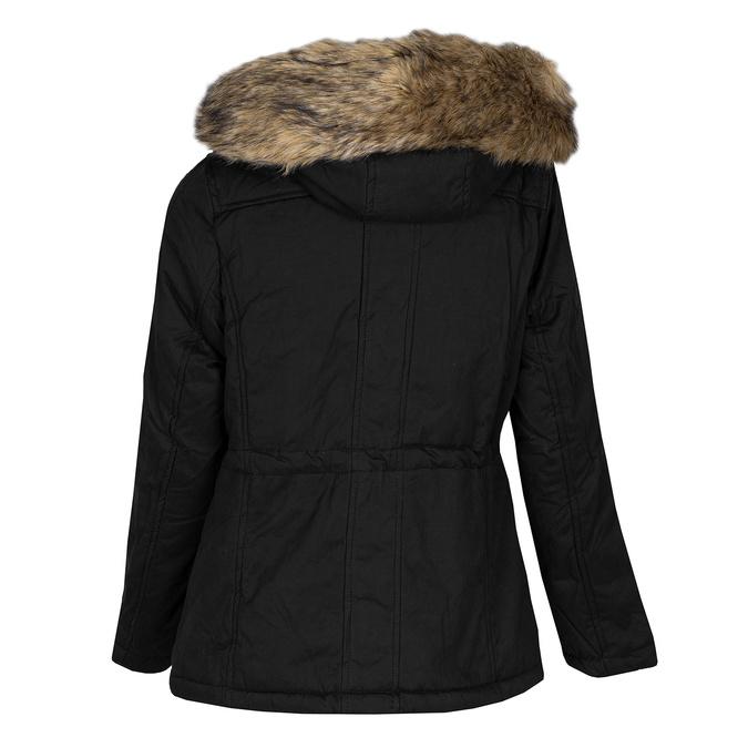 Černá dámská bunda s kapucí a kožíškem bata, černá, 979-6321 - 26