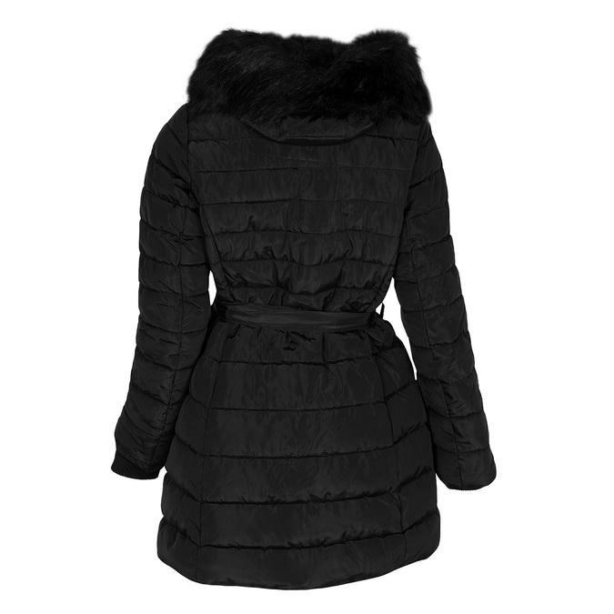 Dlouhá prošívaná bunda s kapucí a kožíškem bata, černá, 979-6325 - 26