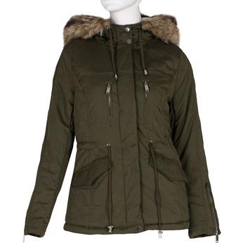 Dámská khaki bunda s kapucí a kožíškem bata, zelená, 979-7321 - 13