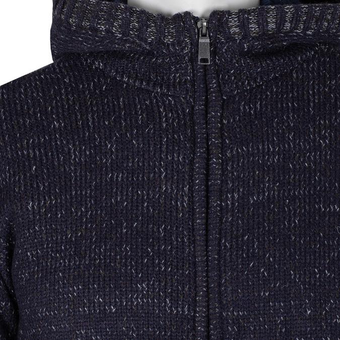 Modrá pánská pletená mikina s kapucí bata, modrá, 979-9406 - 16