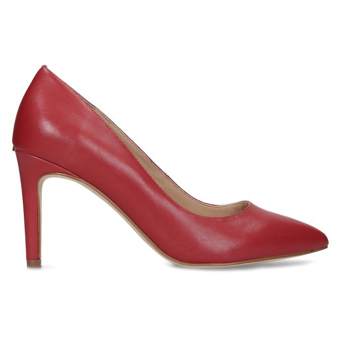 Červené kožené dámské lodičky na jehlovém podpatku insolia, červená, 724-5661 - 19