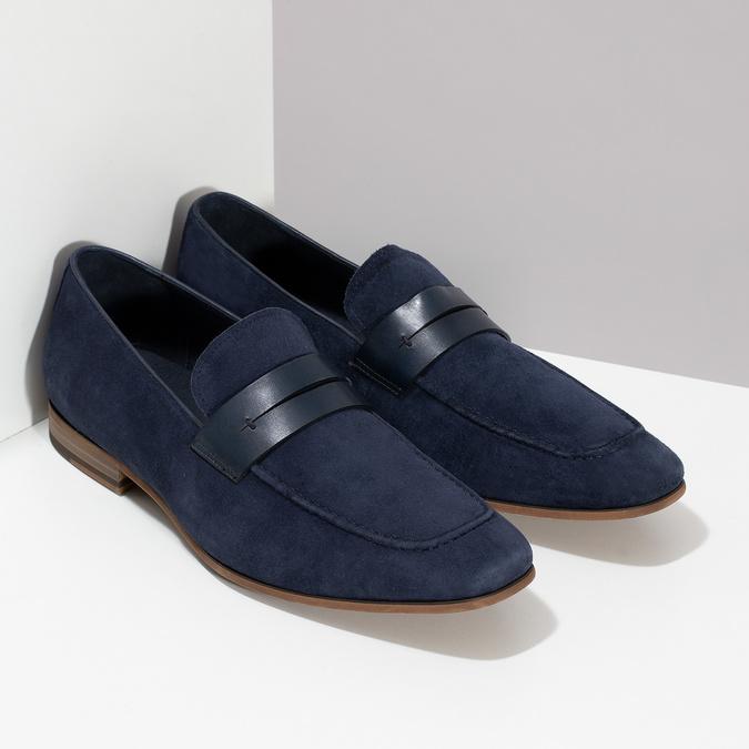 Modré mokasíny z broušené kůže bata, modrá, 813-9600 - 26