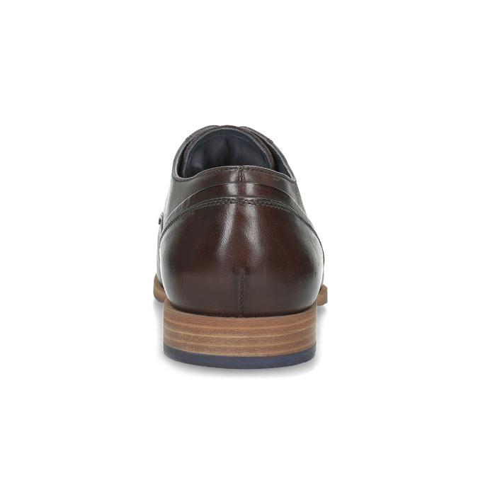 Tmavě hnědé kožené pánské polobotky bata, hnědá, 826-4615 - 15