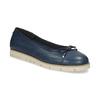 Tmavě modré kožené baleríny s perforací flexible, modrá, 524-9607 - 13