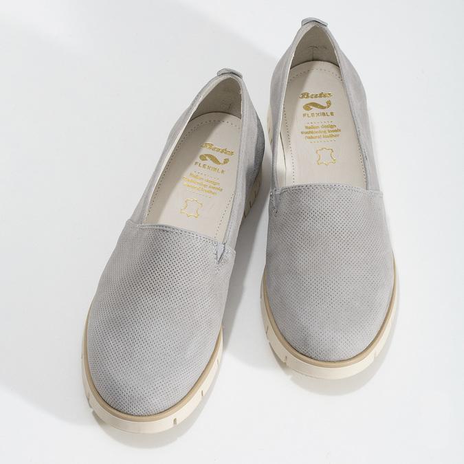 Kožená dámská Slip-on obuv s perforací flexible, šedá, 513-9609 - 16