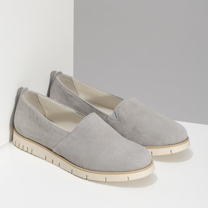 Kožená dámská Slip-on obuv s perforací flexible, šedá, 513-9609 - 26