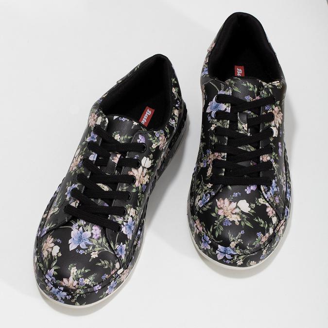 Dámské tenisky s květinovým vzorem černé bata-red-label, černá, vícebarevné, 541-6606 - 16