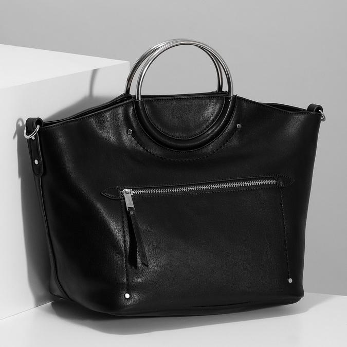 Dámská černá kabelka s kovovými uchy bata, černá, 961-6934 - 17