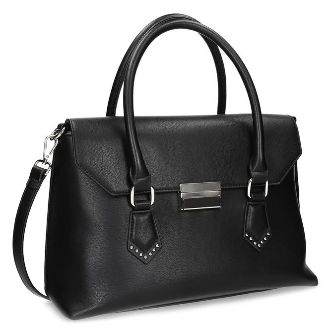 Černá kabelka s kovovou sponou a cvoky bata, černá, 961-6963 - 13