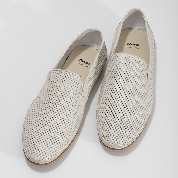 Bílé kožené pánské Loafers bata, bílá, 834-1627 - 16
