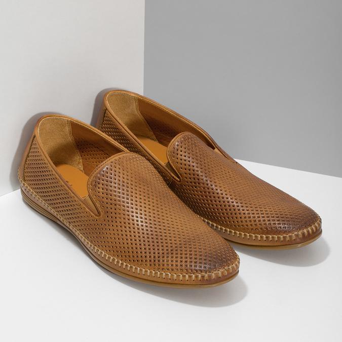 Kožené hnědé pánské Loafers bata, hnědá, 836-3627 - 26