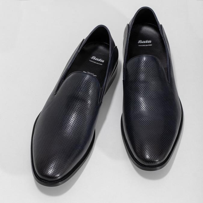 Pánské Loafers s perforací kožené bata, modrá, 816-9600 - 16