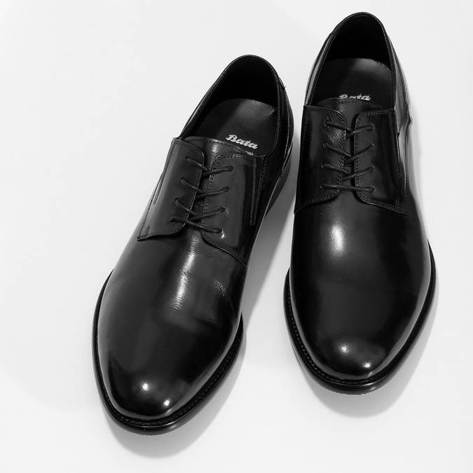 Pánské černé polobotky kožené s perforací bata, černá, 824-6722 - 16