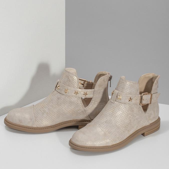 Dívčí kotníčková obuv béžová mini-b, zlatá, 321-8248 - 16