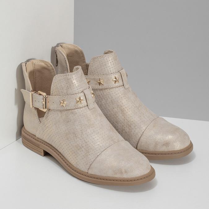 Dívčí kotníčková obuv béžová mini-b, zlatá, 321-8248 - 26