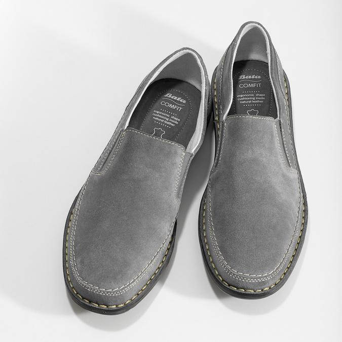 Pánské mokasíny z šedé broušené kůže comfit, šedá, 833-2651 - 16
