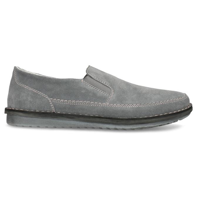 Pánské mokasíny z šedé broušené kůže comfit, šedá, 833-2651 - 19