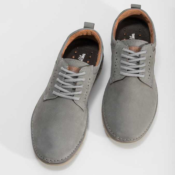 Pánské tenisky z broušené kůže šedé weinbrenner, šedá, 846-2731 - 16