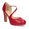 Červené kožené lodičky s asymetrickým páskem insolia, červená, 724-5662 - 13