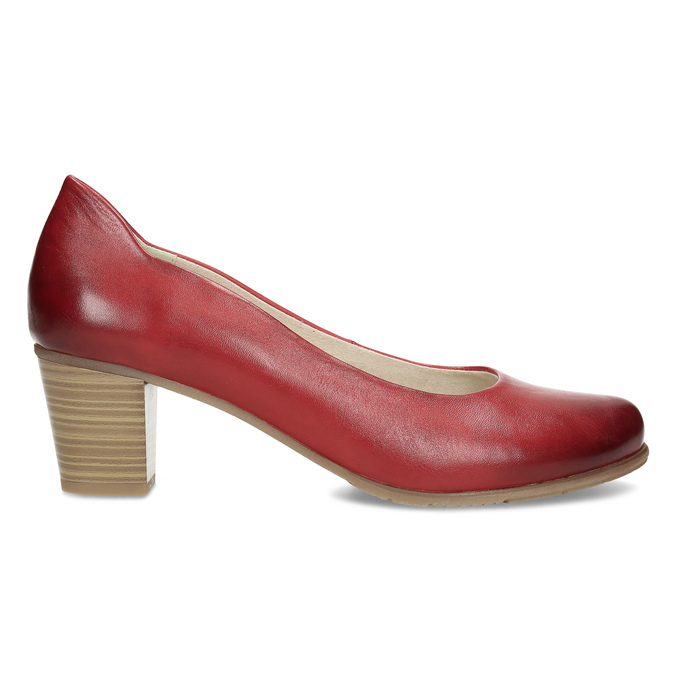 Červené kožené lodičky na stabilním podpatku bata, červená, 624-5649 - 19
