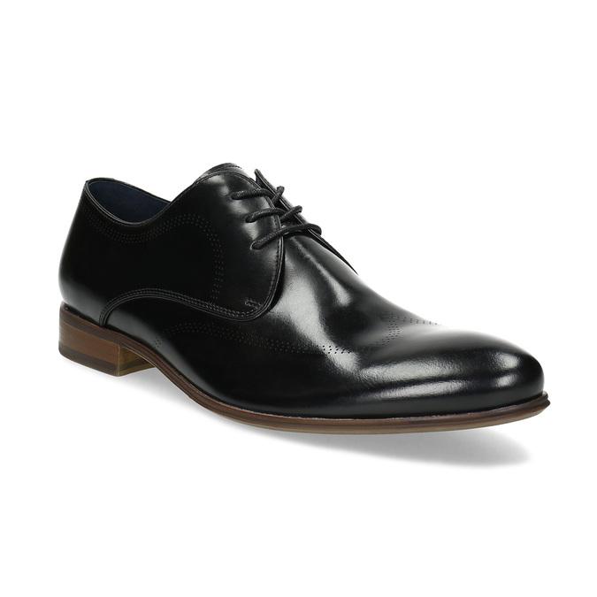 Černé kožené Derby polobotky s perforací bata, černá, 824-6833 - 13