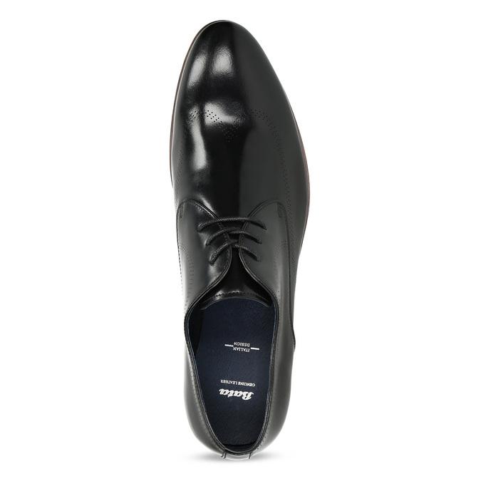 Černé kožené Derby polobotky s perforací bata, černá, 824-6833 - 17