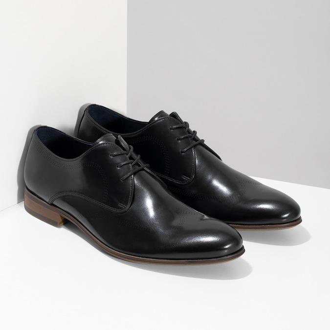 Černé kožené Derby polobotky s perforací bata, černá, 824-6833 - 26