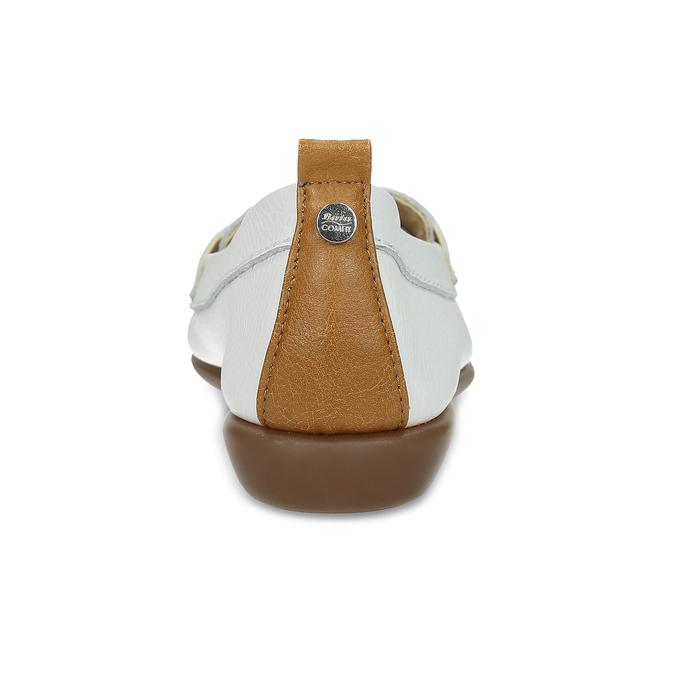 Kožené bílé mokasíny s hnědými detaily comfit, bílá, 516-1606 - 15