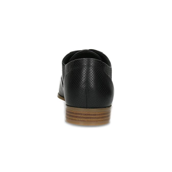 Kožené černé dámské polobotky s perforací bata, černá, 524-6671 - 15