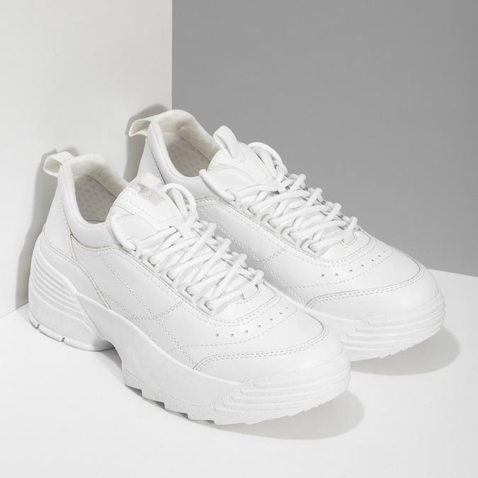 Bílé dámské tenisky na flatformě bata, bílá, 541-1608 - 26